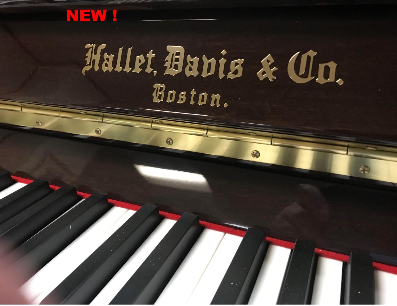 """12106<br><font color=""""black""""><b> HALLET DAVIS</b></font> 48″ Upright  Beautiful Polished Walnut<br> •European Design<br> •European Sound <br>•European Tradition <br><font color=""""blue""""><b>Click Picture for """"Live Video""""</font>"""