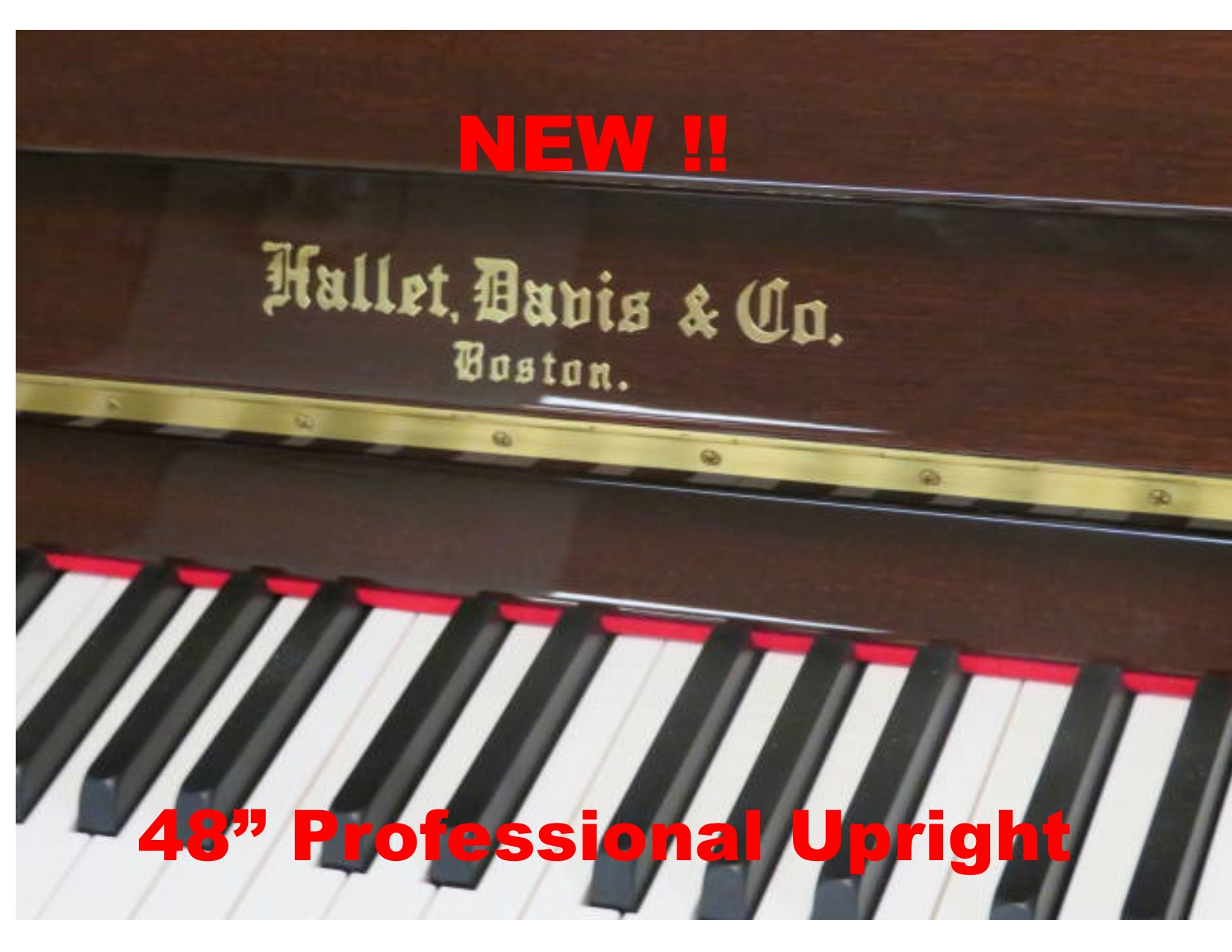 "15791 <br><font color=""black""><b>NEW HALLET DAVIS</b></font> 48″ Upright ""German Built"" Walnut<br><font color=""blue""><b>Click Picture for ""Live Video"""