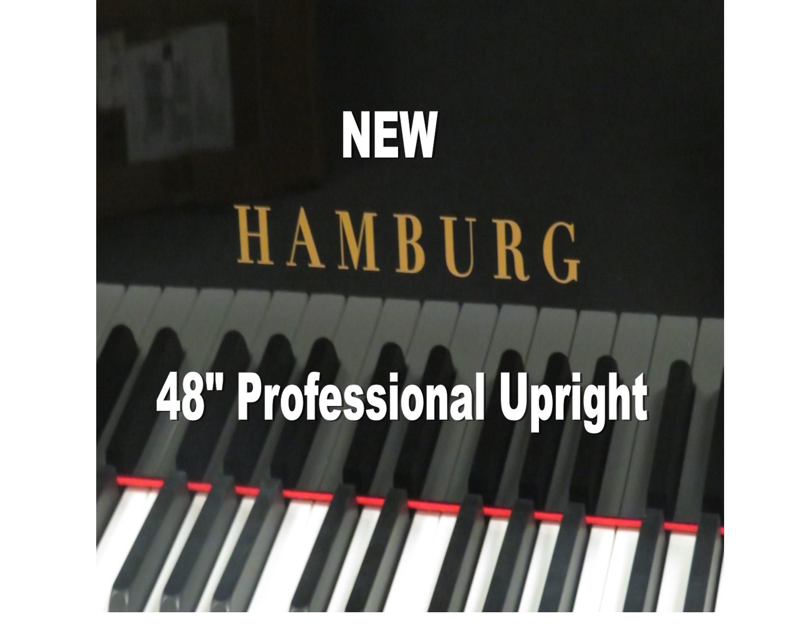 "15403<br><font color=""black""><b>NEW HAMBURG</b></font> 48″ PROFESSIONAL UPRIGHT – ""BEST KEPT SECRET IN THE PIANO BUSINESS"" EUROPEAN QUALITY!<br><font color=""blue""><b>Click Picture for ""Live Video</b></font>"