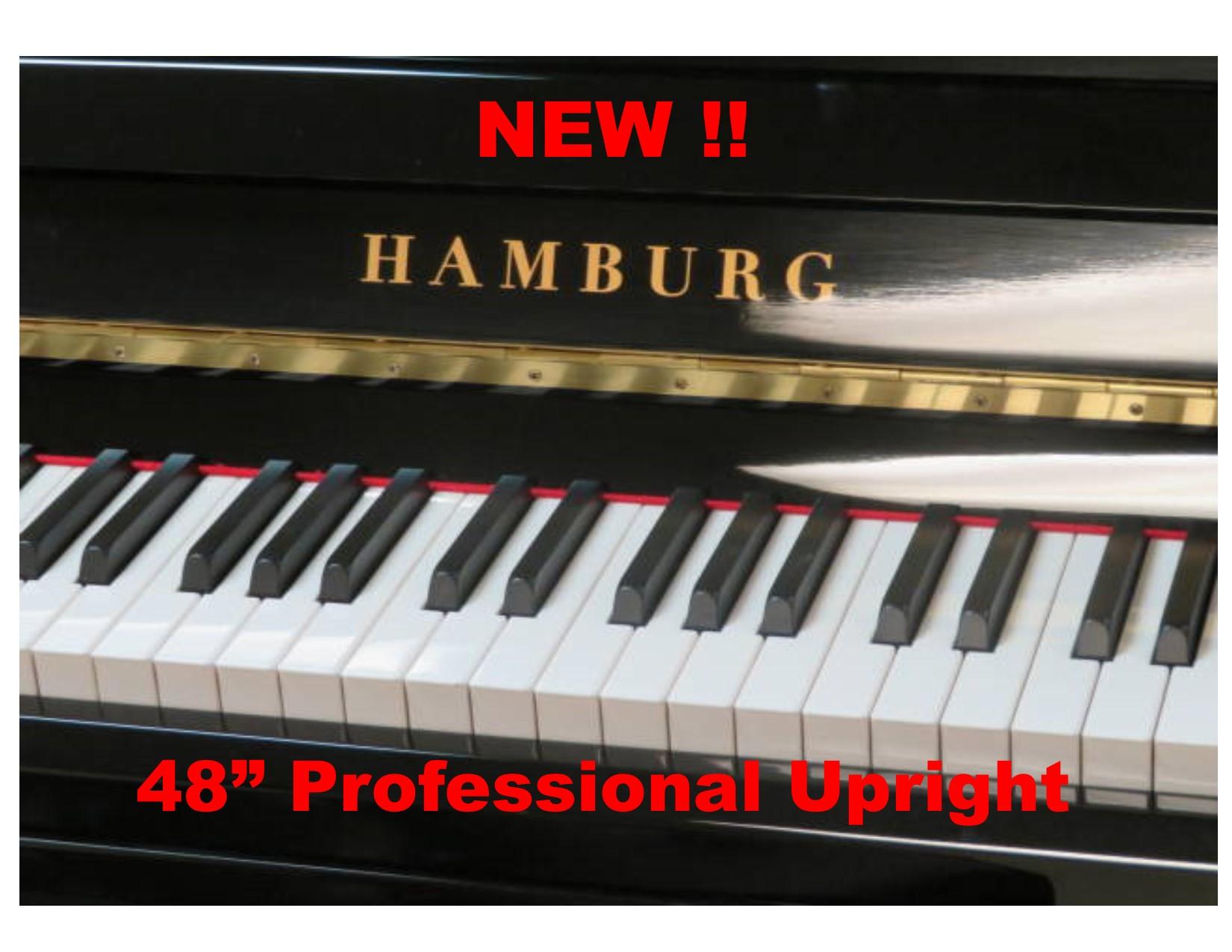 "15720<br><font color=""black""><b>NEW HAMBURG</b></font> German Scale Design 48″ Professional Upright<br><font color=""blue""><b>Click Picture for ""Live Video</b></font>"