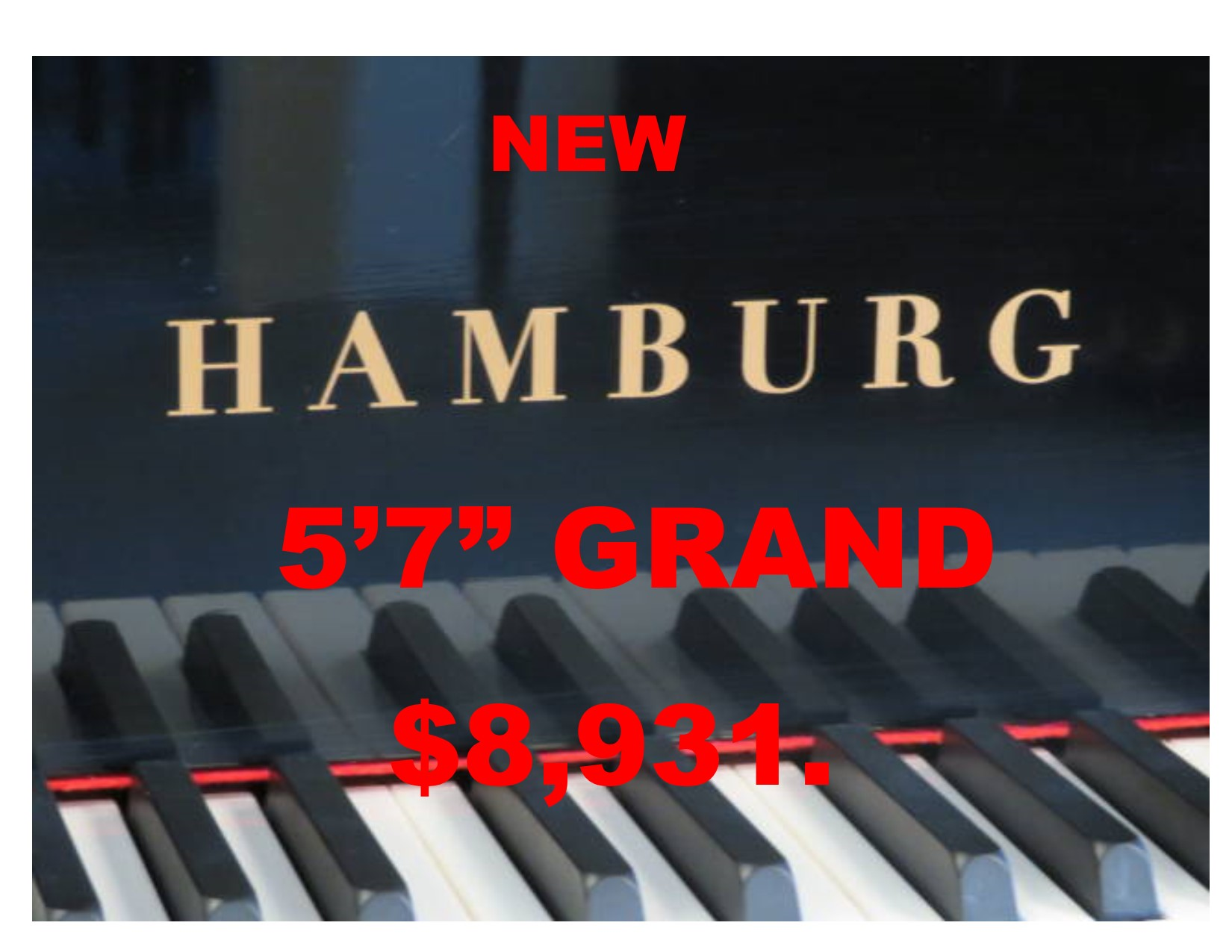 "13896 – <br><font color=black><b>NEW HAMBURG</b></font> 5'7″ Grand Piano – German Wide Tail Design – German Scale Design<br><font color=blue><b>Click Picture for ""Live Video"" and Specifications</b></font>"
