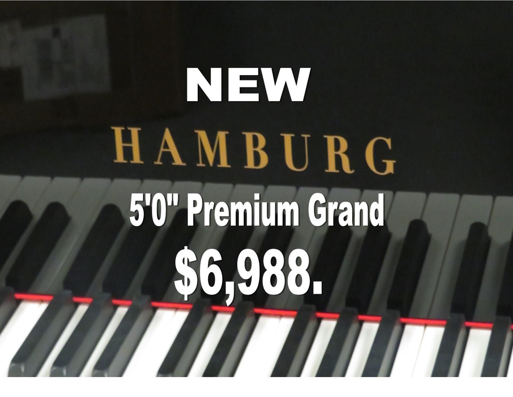 "12454-<br><font color=black><b>NEW HAMBURG</b></font> 5'0″ PREMIUM GRADE GRAND PIANO ! <br> •German Wide Tail Design<br> •European Sound <br>•European Quality<br><font color=blue><b>Click Picture for ""Live Video""</b></font>"