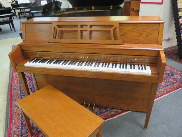 "15735-<br><font color=""black""><b>YAMAHA</b></font> 44″ Upright Piano Beautiful Satin Oak<br><font color=""blue""><b>Click Picture for ""Live Video""</b></font>"