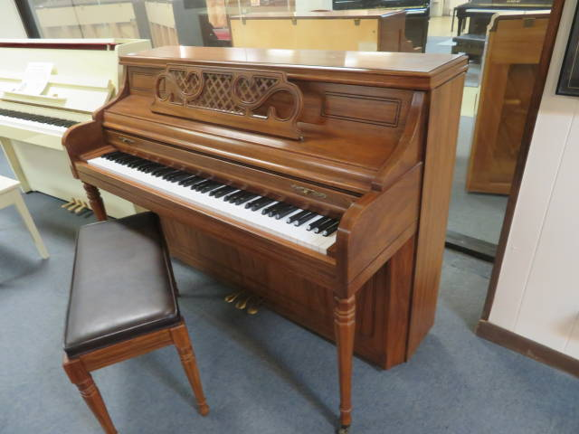 "29352-<br><font color=""black""><b>KIMBALL</b></font> 43″ Upright Piano Gorgeous Pecan Cabinet Made in the U.S.A."