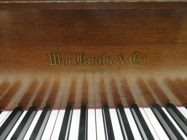 """14115-<br><font color=black><b>KNABE</b></font> 5'7″ Grand Piano Hand Built in the U.S.A. Beautiful Satin Walnut<br><font color=blue><b>Click Picture for """"Live Video""""</b></font>"""
