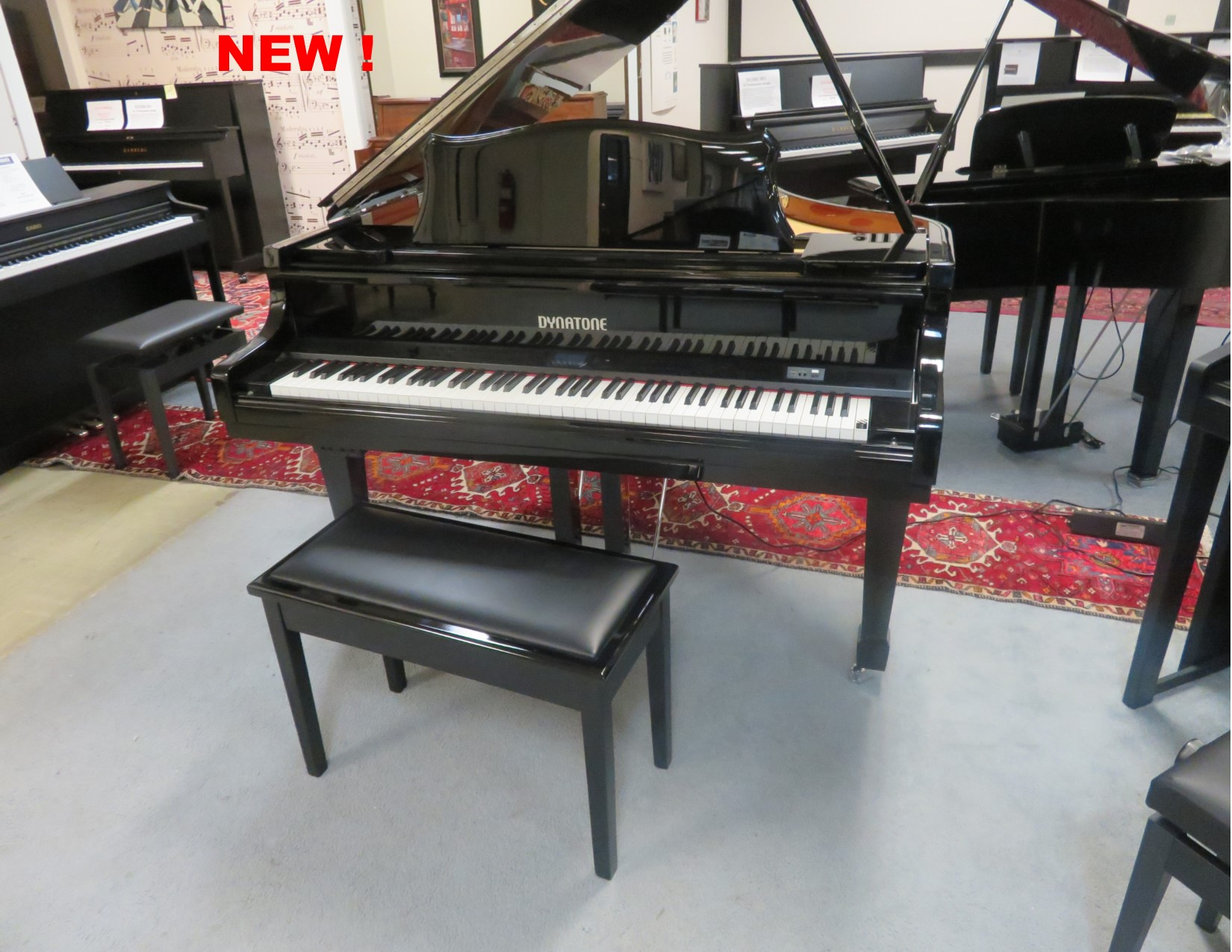 """12365-<br><font color=""""black""""><b>NEW DYNATONE</b></font>""""State of the Art"""" 4'7″ Player Digital Grand Piano Beautiful Polished Ebony<br><font color=""""blue""""><b>Keys Move!! Click Picture for """"Live Video""""</b></font><br><font color=""""red""""><b>Guaranteed Lowest Price !</b></font><br>"""