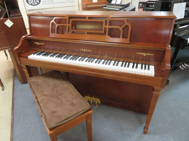 """17016-<br><font color=""""black""""><b>YAMAHA</b></font> 44″ Upright Piano Gorgeous Dark , Rich Brown Cherry Superb!<br><font color=""""red""""><b>SOLD CAMBRIDGE CITY, IN </b></font>"""