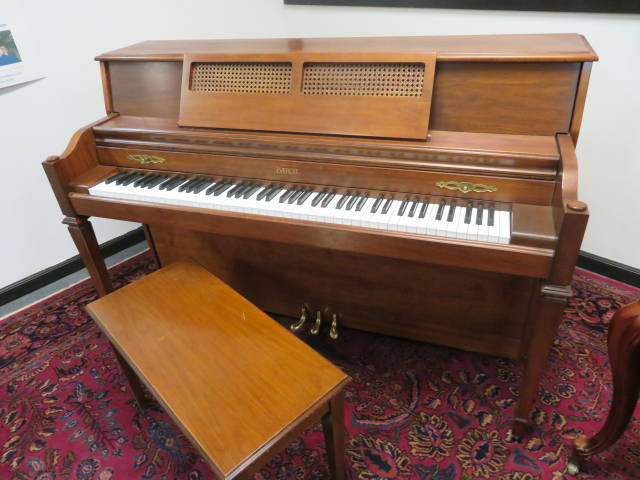 """25503 <br><font color=""""black""""><b>EVERETT</b></font> 42″ Upright Piano Made in the U.S.A. Gorgeous Satin Walnut <br><font color=""""blue""""><b>Click Picture for """"Live Video"""" </b></font>"""