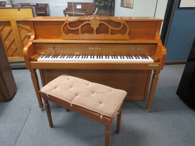 "15784-<br><font color=""black""><b>PEARL RIVER</b></font> 43″ Upright Beautiful Satin Oak – Mint!<br><font color=""blue""><b>Click Picture for ""Live Video""</b></font>"