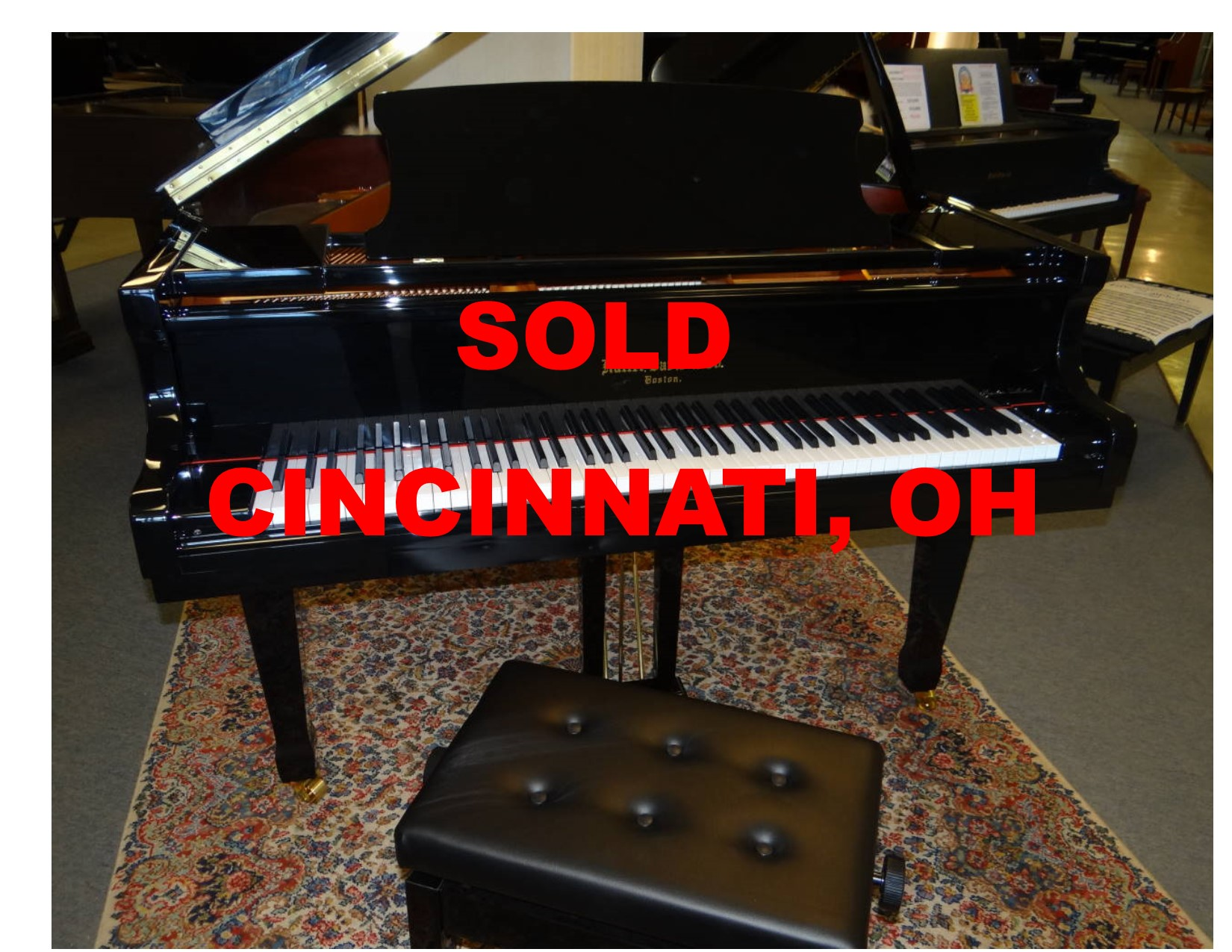 "14003-<br><font color=""black""><b>HALLET DAVIS</b></font> 5'7″ Grand Piano ""German Wide Tail"" German Scale Design"