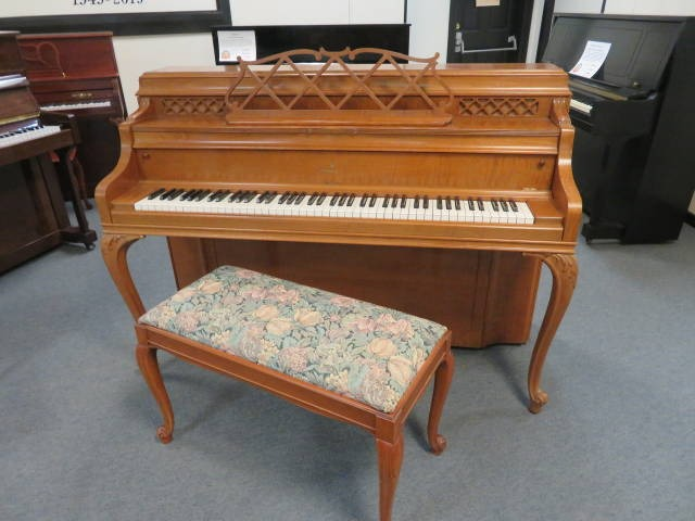 """15729-<br><font color=""""black""""><b>STEINWAY & SONS</b></font> 40″ """"Vintage"""" Upright French Cherry Hand Built in New York <br><font color=blue><b>Click Picture for """"Live Video""""</b></font>"""