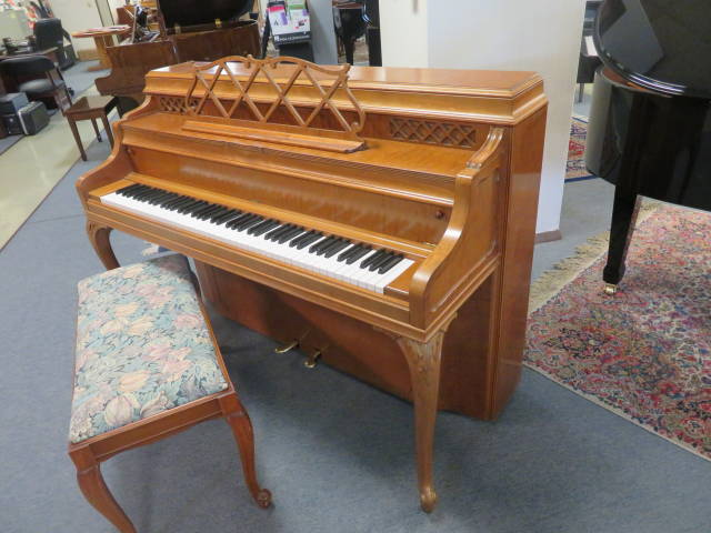 "15751-<br><font color=""black""><b>STEINWAY & SONS</b></font> 40″ ""Vintage"" Upright French Cherry Hand Built in New York <br><font color=blue><b>Click Picture for ""Live Video""</b></font>"