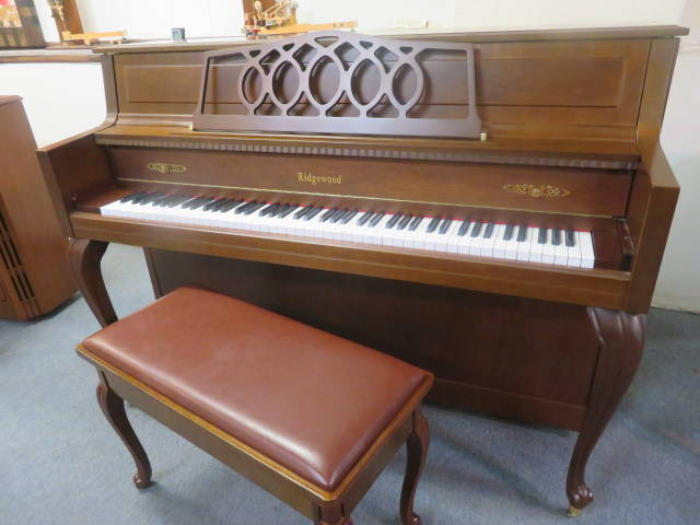 """15795-<br><font color=""""black""""><b>RIDGEWOOD</b></font> 44″ Upright Piano Designer French Brown Cherry Cabinet Excellent !<br><font color=blue><b>Click Picture for """"Live Video""""</b></font>"""