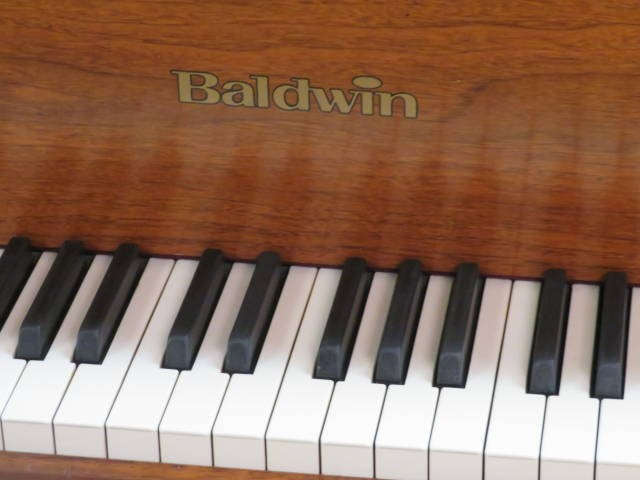"12895-<br><font color=black><b>""VINTAGE"" BALDWIN</b></font> 5'2″ Model M Beautiful Satin Walnut Made in the U.S.A. <br><font color=blue><b>Click Picture for ""Live Video""</b></font>"