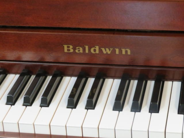"15738-<br><font color=""black""><b>BALDWIN</b></font> 44″ Upright Made in the U.S.A. Dark Queen Anne Cherry<br><font color=blue><b>Click Picture for ""Live Video""</b></font>"