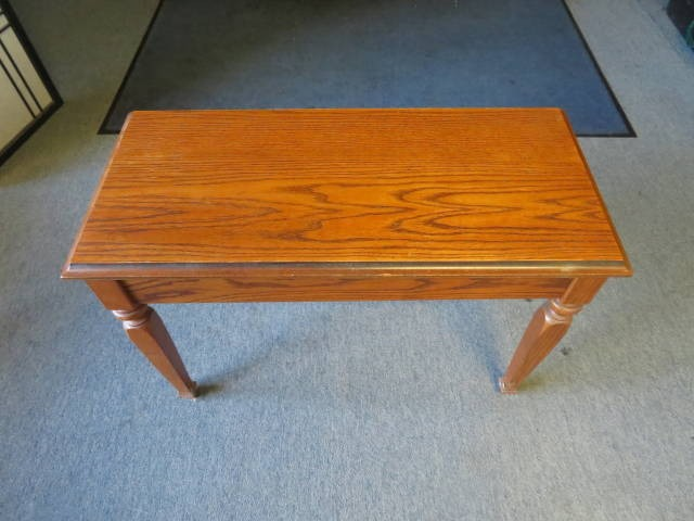 """18205-<br><font color=""""black""""><b>Pre-Owned Piano Bench 30X14 Solid Top Satin Oak w/ Music Storage </b></font>"""