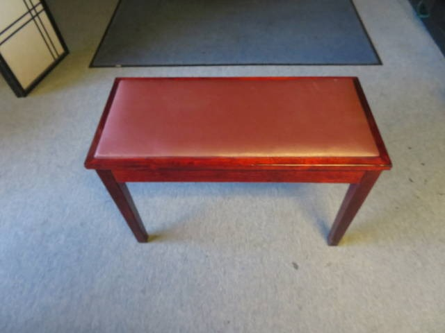 """18204-<br><font color=""""black""""><b>Pre-Owned Piano Bench 30X14 Polished Mahogany w/ Music Storage</b></font>"""