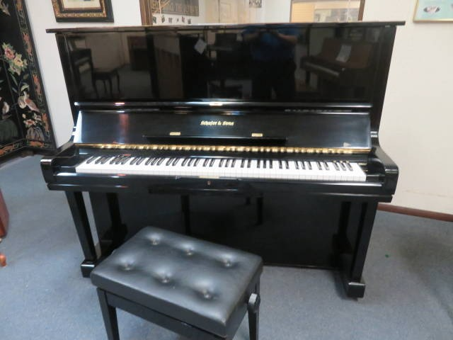 """15728-<br><font color=""""black""""><b>SCHAFER & SONS</b></font> 52″ Professional Upright Piano Polished Ebony <font color=blue><b>Click Picture for """"Live Video""""</b></font>"""