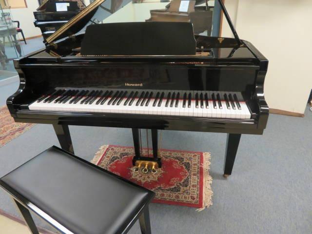 "12513- <br><font color=black><b>BALDWIN HOWARD</b></font> Grand Piano Beautiful Polished Ebony <br><font color=""blue""><b>Click Picture for ""Live Video""</b></font>"
