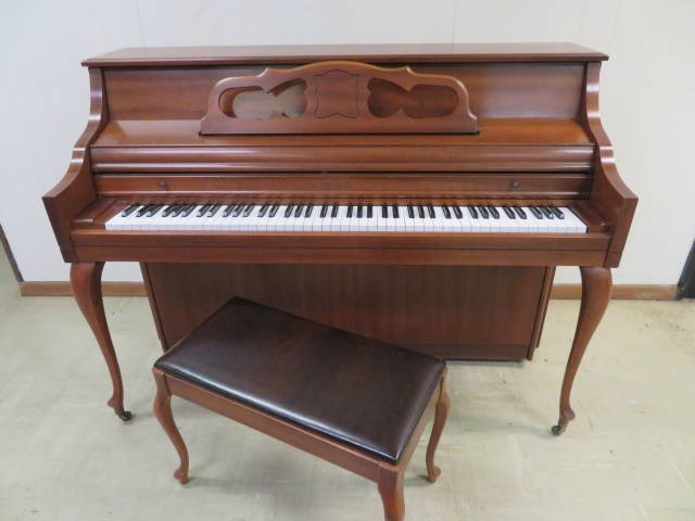 """15675-<br><font color=""""black""""><b>KIMBALL</b></font> 42″ Upright Gorgeous Queen Anne Cherry Case!"""