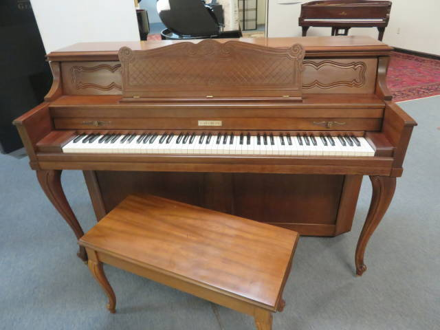 """15663-<br><font color=""""black""""><b>BALDWIN</b></font> 43″ Upright Piano Made in the U.S.A. Dark Queen Anne Walnut Excellent ! <br><font color=""""blue""""><b>Click Picture for """"Live Video""""</b></font>"""