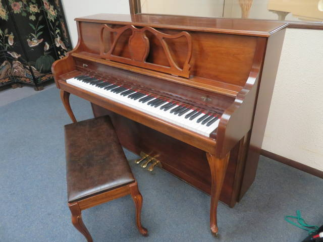 """15664-<br><font color=""""black""""><b>KIMBALL 44"""" UPRIGHT </b></font> Gorgeous Dark Queen Anne Cherry Excellent ! <br><font color=""""blue""""><b>Click Picture for """"Live Video""""</b></font>"""