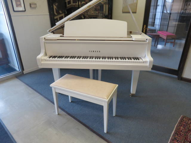 """12484-<br><font color=black><b>YAMAHA</b></font> 5'3″ Grand Piano Stunning Polished Ivory ! Beautiful Show Piece ! <font color=""""blue""""><b>Click Picture for """"Live Video""""</b></font>"""