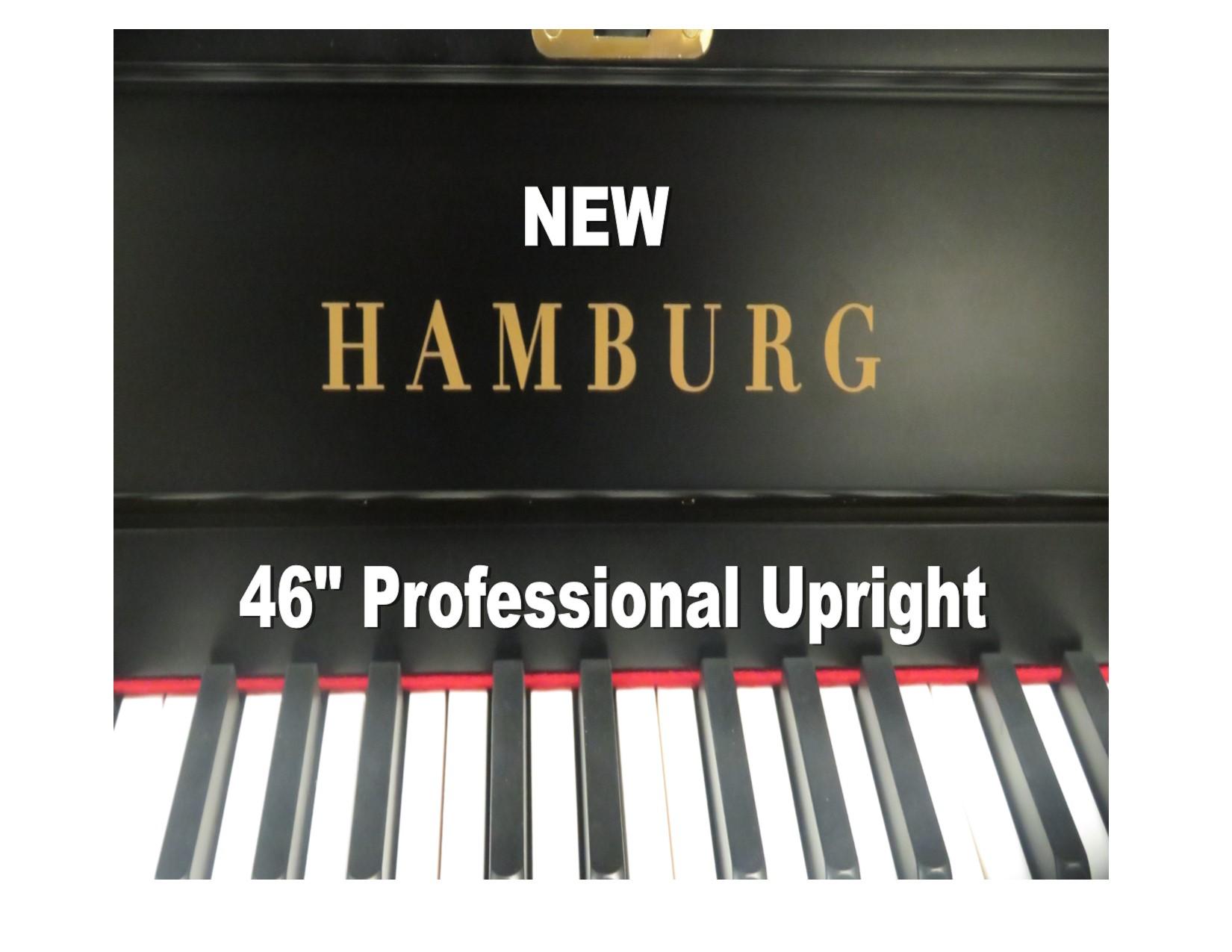 "15360-<br><font color=""black""><b> HAMBURG</b></font> 46″ Upright  Classic Satin Ebony<br> •European Quality<br> •European Sound <br>•German Design"