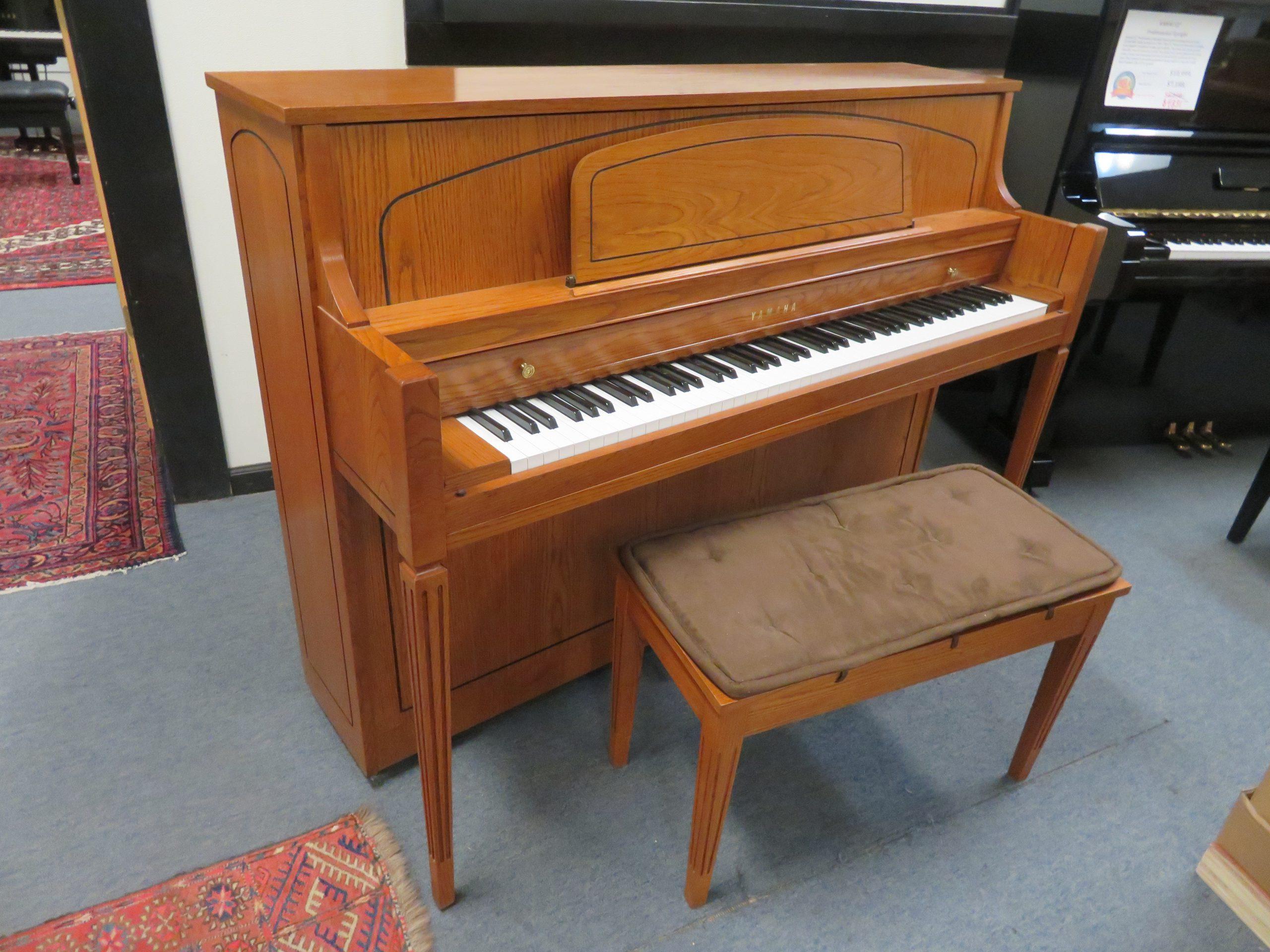 "15365-<br><font color=""black""><b>YAMAHA</b></font> 44″ Upright Piano Excellent Condition! Satin Oak <br><font color=""blue""><b>Click Picture for ""Live Video""</b></font>"