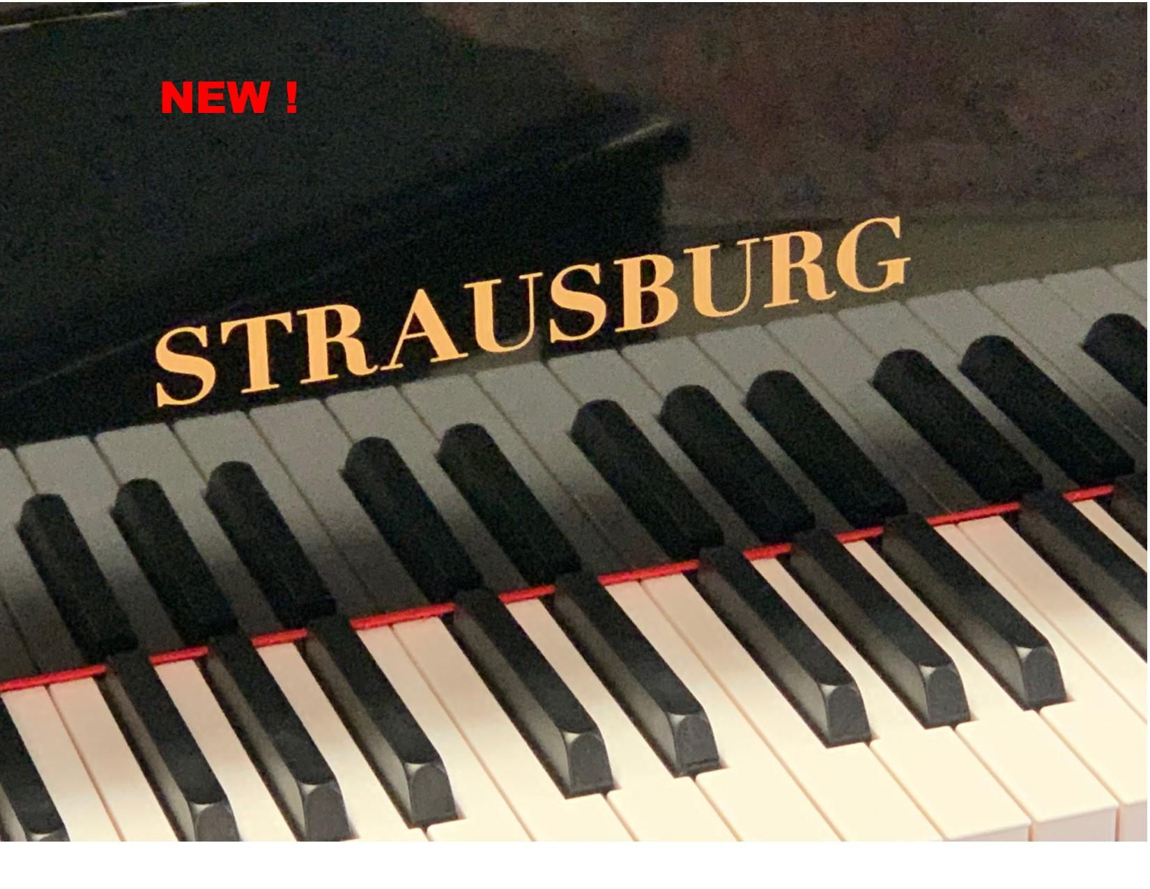 "12100-<br><font color=black><b>NEW STRAUSBURG</b></font> 5'0″  Premium Grade Grand <br> •German Wide Tail Design<br> •European Scale Design <br>•Warm, Dark Resonance  <br><font color=""blue""><b>Click Picture for ""Live Video""</b></font>"