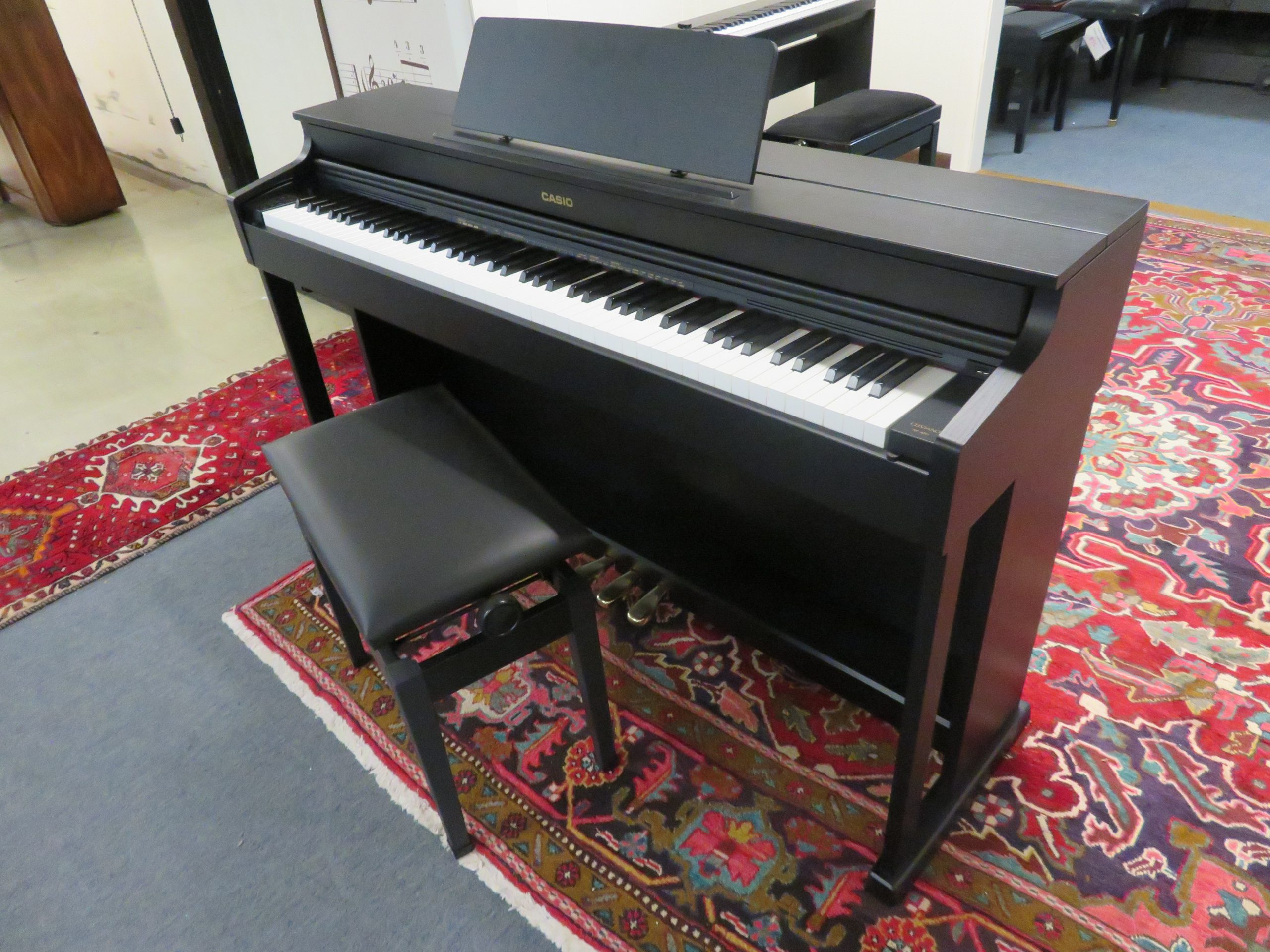 """17897-<br><font color=""""black""""><b> NEW Casio AP-470</b></font> Celviano Digital w/ Deluxe Bench <br><font color=""""blue""""><b>Click Picture for """"Live Video""""</b></font>"""