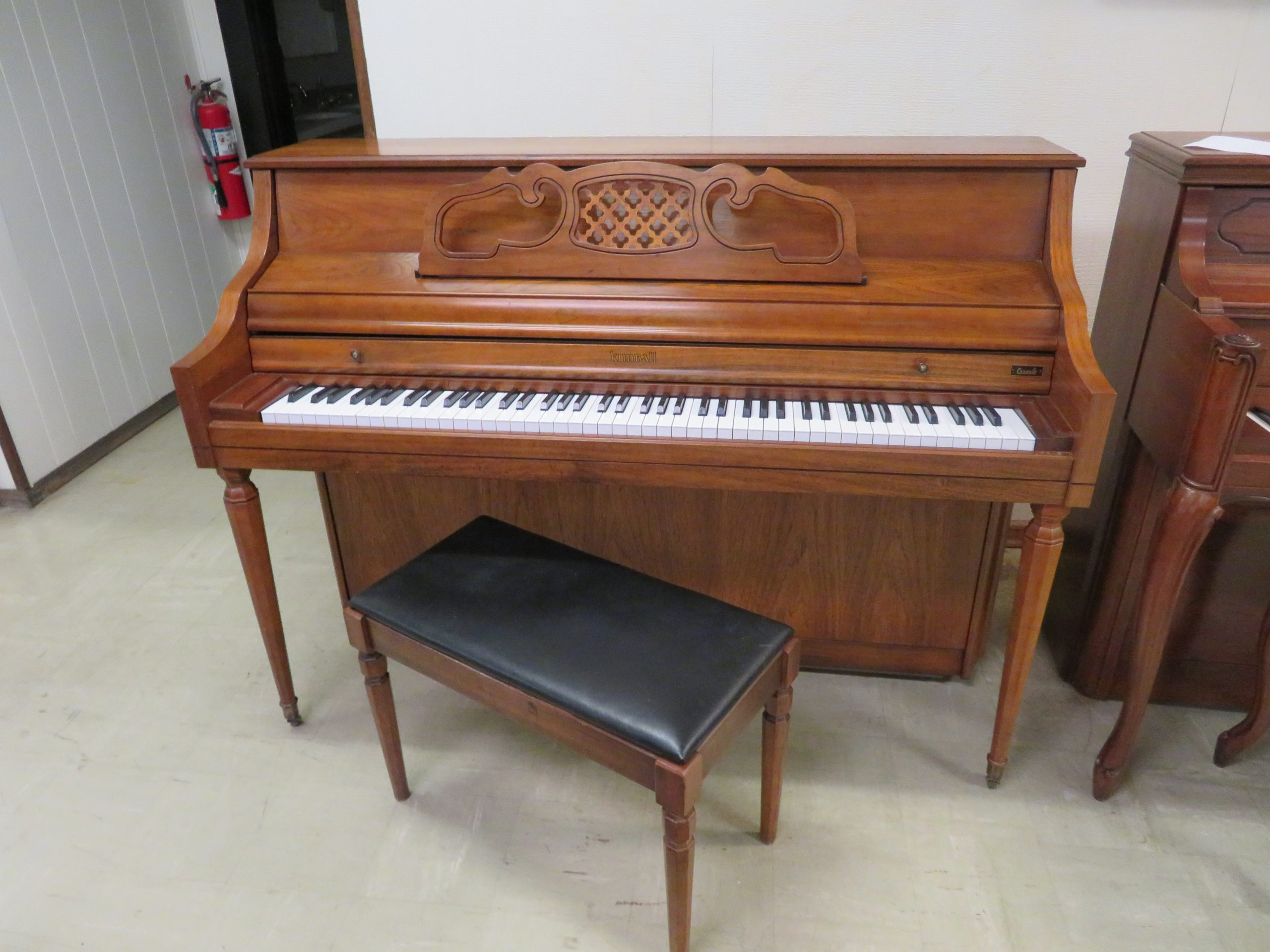 "12366-<br><font color=""black""><b>KIMBALL 44"" UPRIGHT </b></font> Beautiful Pecan Cabinet <br><font color=blue><b>Click Picture for ""Live Video""</b></font>"