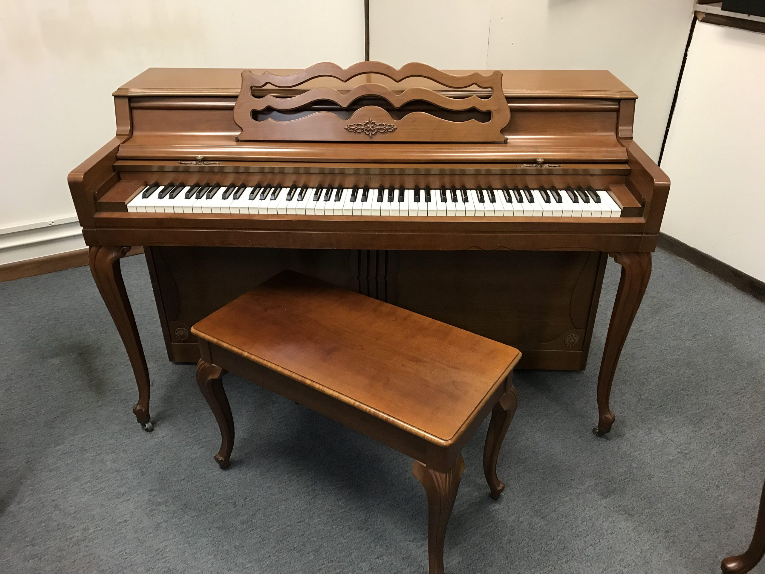 """12360-<br><font color=""""black""""><b>WURLITZER UPRIGHT</b></font> Beautiful French Cherry Cabinet <br><font color=""""blue""""><b>Click Picture for """"Live Video""""</b></font>"""