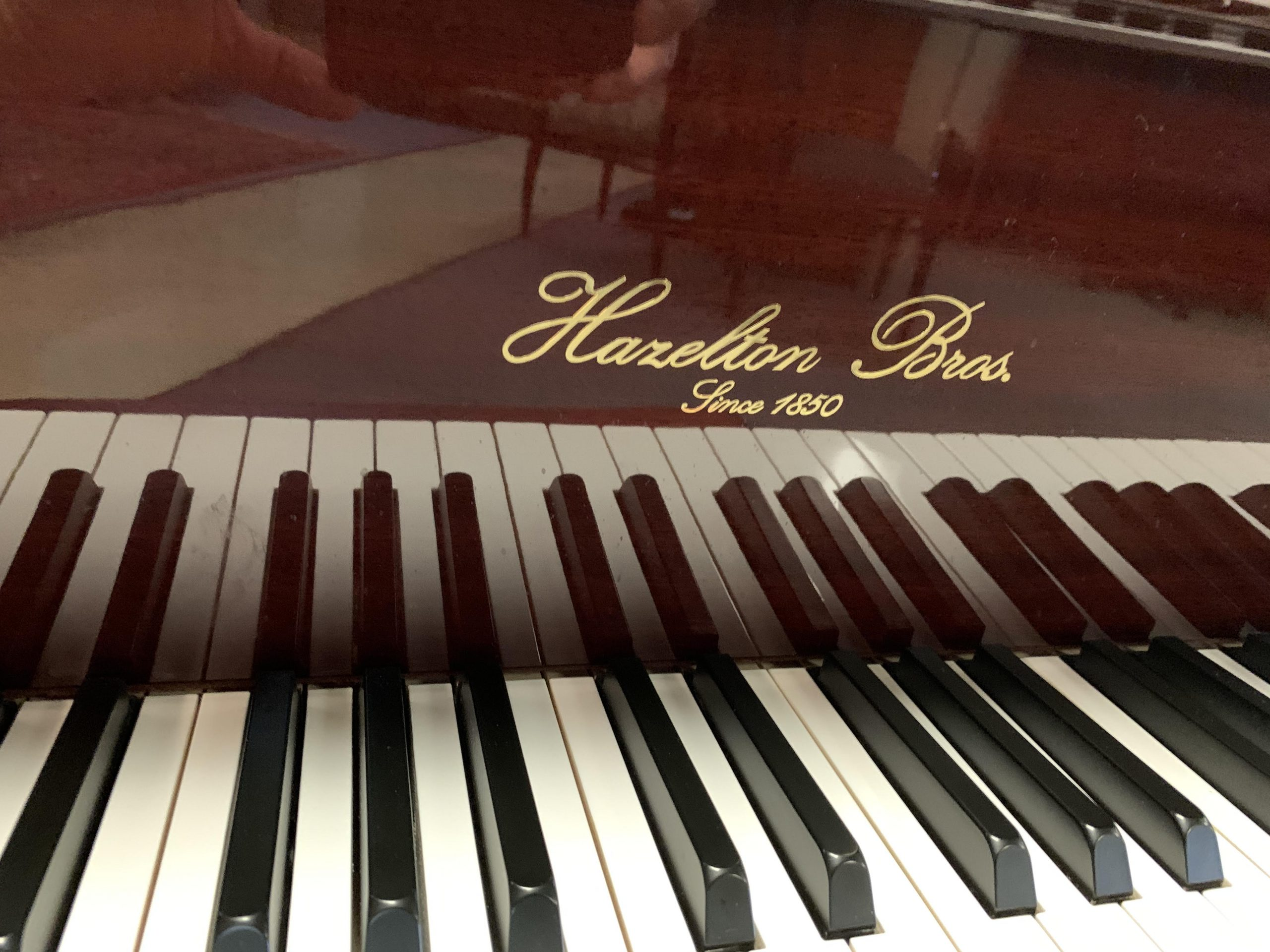 """12025<br><font color=black><b>HAZELTON BROS.</b></font>Baby Grand Stunning Polished Ribbon Mahogany """"Perfect"""" <br><font color=blue><b>""""Click Picture for """"Live Video""""</b></font> <br>"""