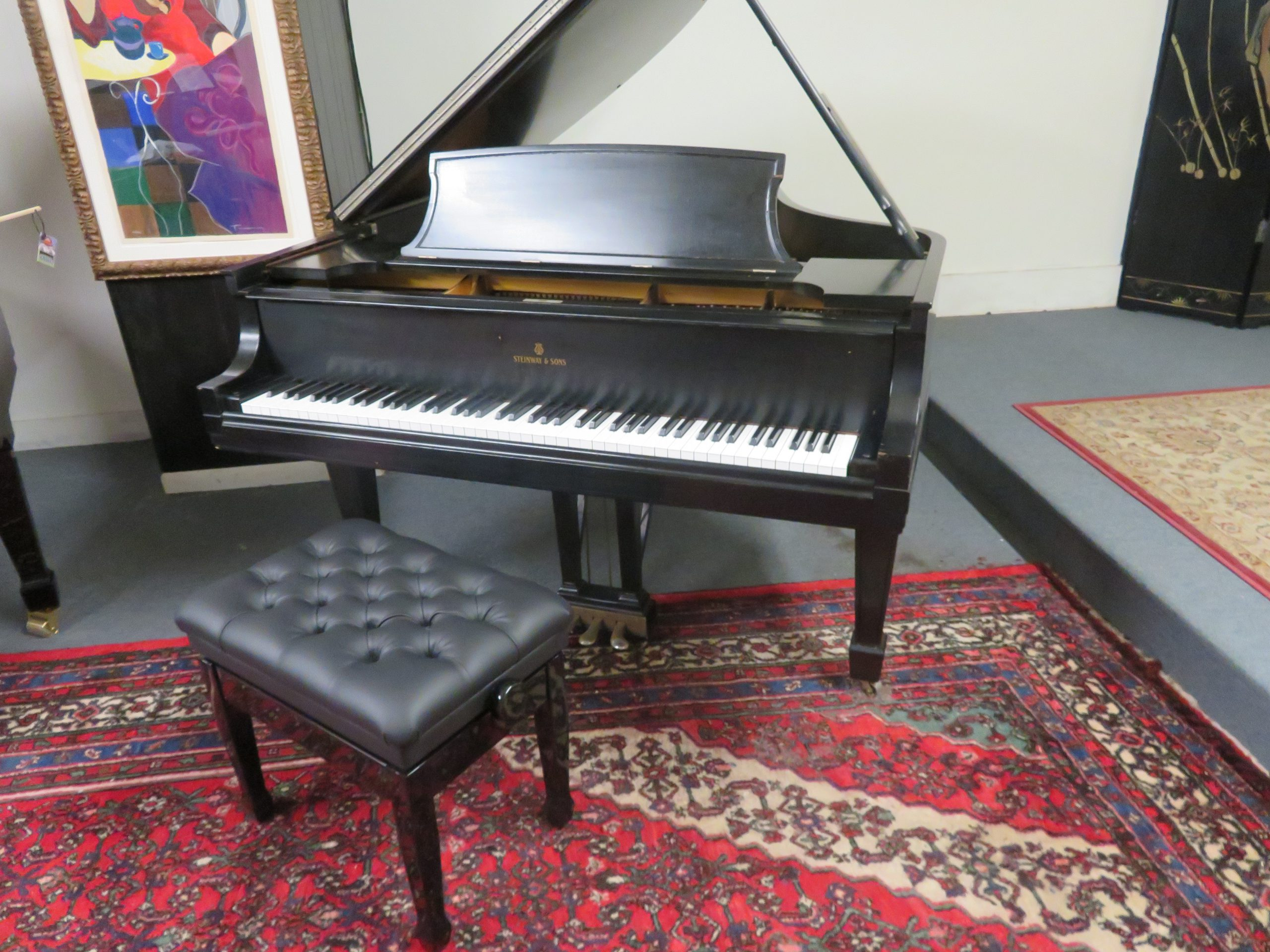 """12014<br><font color=black><b>STEINWAY & SONS</b></font> 5'10 1/2″ Model L Hand Built in New York Classic Satin Ebony <br><font color=blue><b>Click Picture for """"Live Video""""</b></font>"""